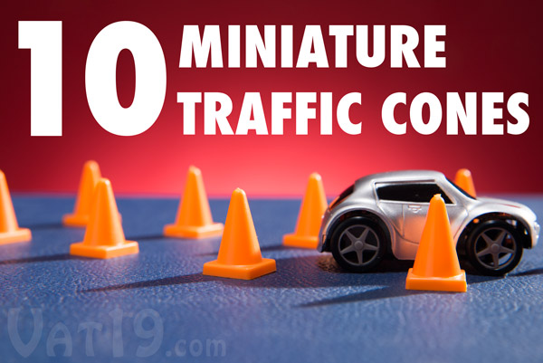 Includes 10 mini traffic cones to test your maneuvering skills.