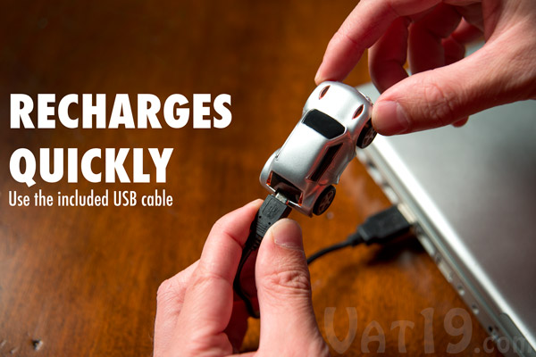 The ZenWheels Microcar recharges quickly via the included USB cable.